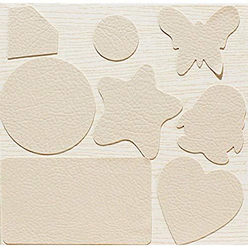 Kit de Parche de Piel de color crema,Parches de Piel Cuero Artificial,...