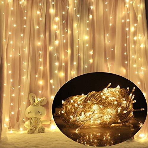 VINGO 3 * 3M LED Lichtervorhang mit 300 LEDs Weihnachtslichterkette Vorhang mit Steuerbox Netz-ineinander greifen