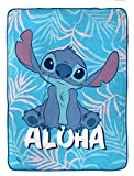 Disney Lilo & Stitch Raschel Blanket - Measures 60 x 80 inches, Kids Bedding - Fade Resistant Super Soft (Official Disney Product)