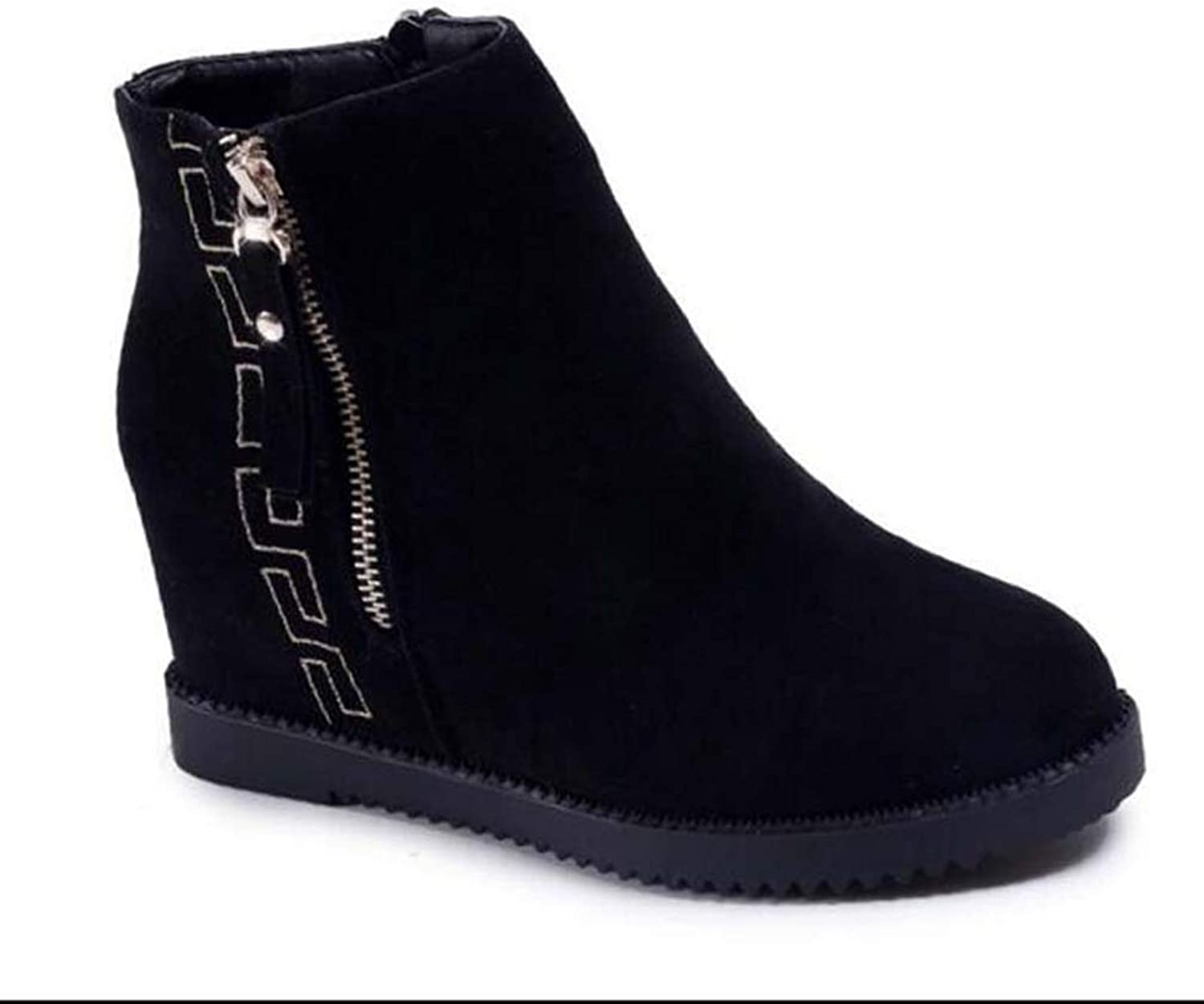 Woman Ankle Boots Zipper Wedges Height Increasing High Heel Round Toe Antislip Winter Warm Fashion Snow Boots