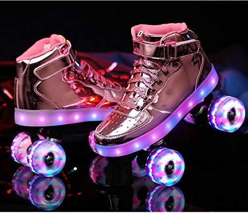 Qingting LED-Rollschuhe, wiederaufladbar, 7 bunte Leuchten, zweireihig, 4 Rollen, Outdoor, Damen, Schuhe, 4,5 cm, Rosa