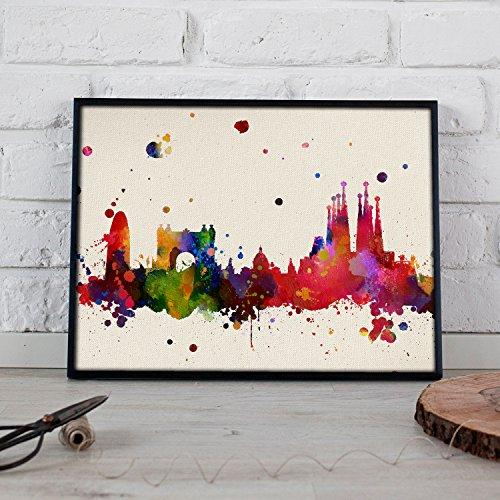 Nacnic Lámina Ciudad de Barcelona. Skyline Estilo Acuarela y explosión de Color. Poster tamaño A3 Impreso en Papel 250 Gramos y tintas Decoración del hogar. Diseño al Mejor Precio.