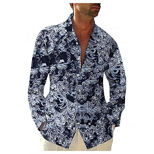 Briskorry Chemise hawaïenne à manches longues en coton et lin - Coupe droite, Noir , L