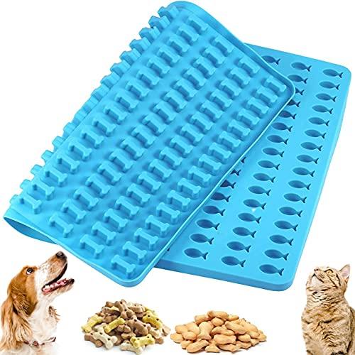 Backmatte hundekekse Tomicy Dog Biscuits Baking Mini Baking mould for dog treats reusable bone silicone baking mat bone and fish shapes 39.5 x 27.5 cm 192 Cavity BPA-Free