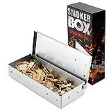 Caja de humo de acero inoxidable, fácil de limpiar para ahumar fichas y ahumadores de madera, accesorios de barbacoa, utensilios de barbacoa para papá (22,2 x 9,6 x 4,4 cm)