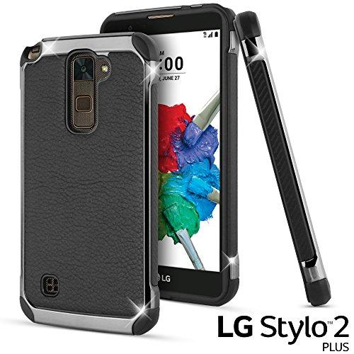 LG Stylus 2 Plus Case, LG Stylo 2 Plus Case, Celljoy [Deluxe Shock Armor] Slim Fit Dual Layer Protective ((Shockproof)) Hybrid Bumper [[Impact Resistant]] Premium Elegant - Thin Hard Cover (Black)