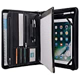 XIAOZHI Black Leather Portfolio with Notepad Space for 10.2-inch / 10.5-inch / 11-inch iPad, Padfolio Case Business Zippered Organizer Document Folder with Letter Size Notepad Holder