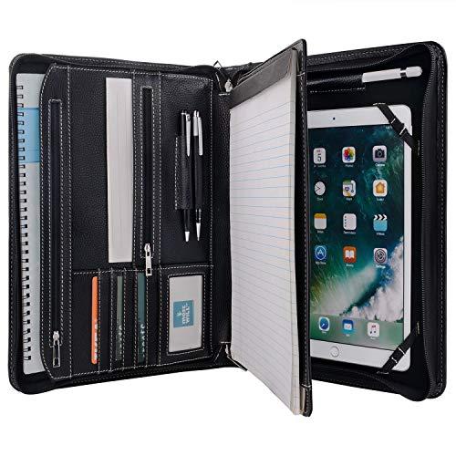 XIAOZHI Portfólio de couro preto com espaço para bloco de notas para iPad de 10,2 polegadas / 10,6 polegadas / 11 polegadas / Pasta de documentos com zíper com suporte de bloco de notas tamanho carta