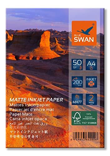 BLUE SWAN 100 Blatt A4 Matt Beidseitig bedruckbar Fotopapier, DIN A4 (210 x 297 mm),Beidseitige Mattbeschichtung, 200g/qm, hohe Farbbrillianz, Geringe Reflexion.
