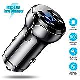 CAFELE Caricabatteria da auto Dual USB, 4,8 A, caricabatterie rapido con monitor di tensione, mini adattatore accendisigari da auto con 12 V/24 V, 30 W, 2 porte (nero)