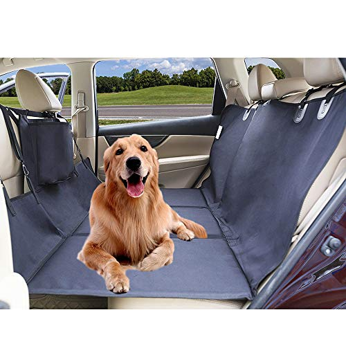 AMOCHIEN Backseat Extender for Dogs - Back Seat Pet Bridge for Car Trips, Rear Pet Platform Divider Barrier Waterproof| Up to 100 lbs | Two Storage Bag