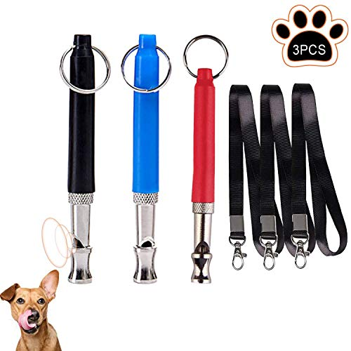 WELLXUNK Hunde Pfeife,3 Stücke Hundepfeifen ultraschall,Trainingspfeife,Professionell Hundepfeife,Trainingpfeife Einstellbares Pitch mit Schlüsselband für Hundetraining