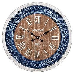 Benzara Modernly Classic Wood and Ceramic Clock, Blue