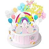Birthday Unicorn Cake Topper,Rainbow Balloon Cake Decorations Cupcake Toppers for Girls Unicorn Birthday Party Supplies