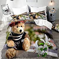 布団カバー シングル 白くまのおもちゃ 掛け布団カバー 150x210 cm,100%ポリエステル布 柔らかくて快適 枕カバー付 き幼児の子供大人のための