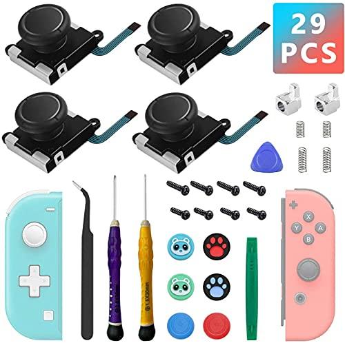 4 Pack Joycon Joysticks Reemplazo, joystick de reemplazo Thumbsticks analógicos para el interruptor Nintendo Joycon y Switch Lite, Joy Con reparación El kit incluye hebillas...