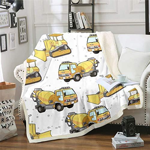 Machinery Cars Manta de felpa para construcción de vehículos, manta de forro polar de dibujos animados amarilla, para cama, sofá, camiones, camiones, decoración de lunares grises, doble 152 x 200 cm