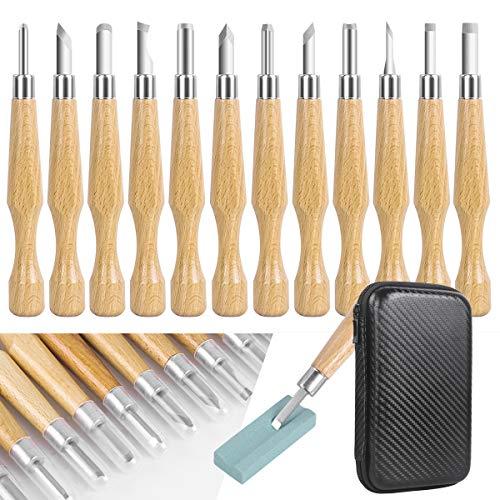 SanGlory Holz Schnitzmesser Set - 12 Stück SK7 Holz Schnitzwerkzeug mit Schleifsteine, Professional Schnitz set für Holz, Obst, Gemüse, Carving DIY, Skulptur und Wax