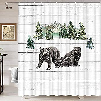 Black Bear Shower Curtain Country Wild Animals and Natural Mountains Forest Scenery Farmhouse Rustic Cabin Wildlife Shower Curtain Wooden Board Bathroom Decor Sets  69   W by 70   L