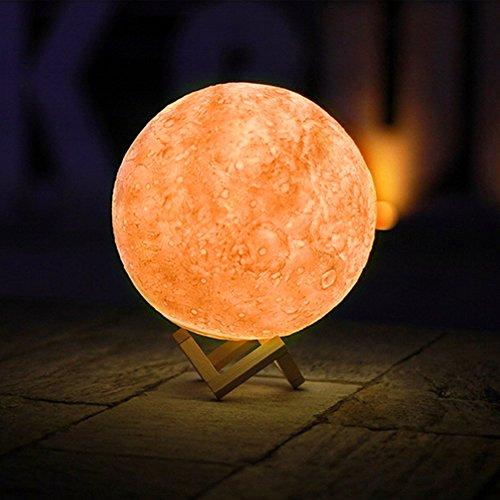 3D Lámpara Mágica de la Luna LED Lámpara de Noche Luna Llena Control Tactil Luces LED Regulables Carga Usb Lámpara De Mesa Regalo de los Niños Lámpara con Base Blanco/Blanco Cálido Iluminación (13cm)