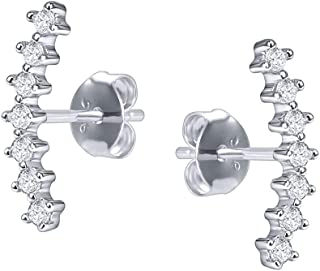 Curved Climber Stud Earrings Sterling Silver Cubic Zirconia Conch Cartilage Piercing Earrings for Women