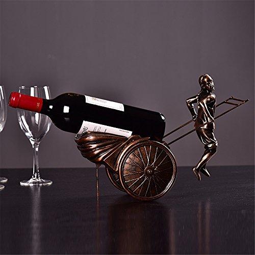 LL-COEUR Porte-Bouteille Décoration Casier à Vin Original Support pour Bouteille Artisanat Main-d'œuvre Rickshaw Style Chinois Idée Cadeau (Bronze)