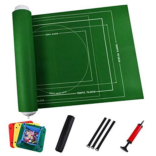 Tapis de Puzzle,Tapis de Puzzle en Feutre Puzzle Roll Roll Storage Roll Rollable pour jusqu'à 1500 pièces Puzzle avec Poche de Rangement Tapis de Jeu (118 cm x 66 cm,Vert)
