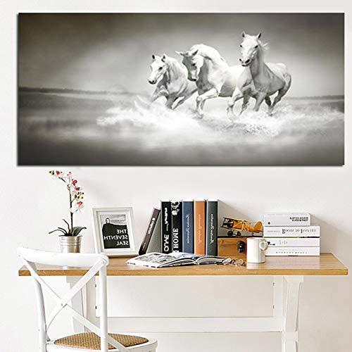 ZWBBO decoratief schilderij moderne witte paarden lopen in de rivier olieverfschilderij HD print op canvas poster muur popart afbeelding voor woonkamer bank