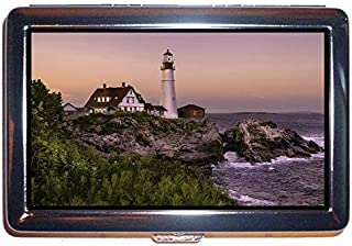Cigarette Case/Box,Lighthouse at Night Protection Credit Business Card Holder Case