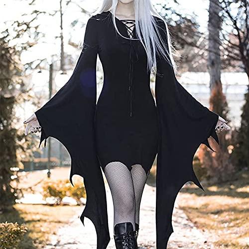 chushi Vestidos de Mujer Vestido Negro De Cintura Alta Gótica Estética Mueca...