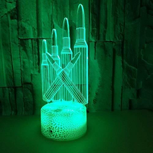 MQJ Crayons Lámpara de ilusión 3D para niños y niñas, regalo 3D luz nocturna para dormitorio al lado de la mesa, 16 colores que cambian de estado de ánimo, lámpara de mesa, regalo para niños