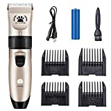 Hugomega Dog Clippers, Professional Pet Grooming Clippers, Rechargeble Low Noise Dog Hair Trimmer