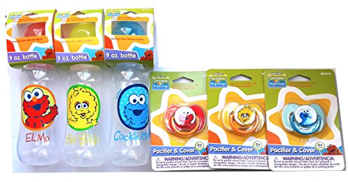 Sesame Street 8 oz Feeding Bottles with Pacifiers (For the super Awesome Mom(c))