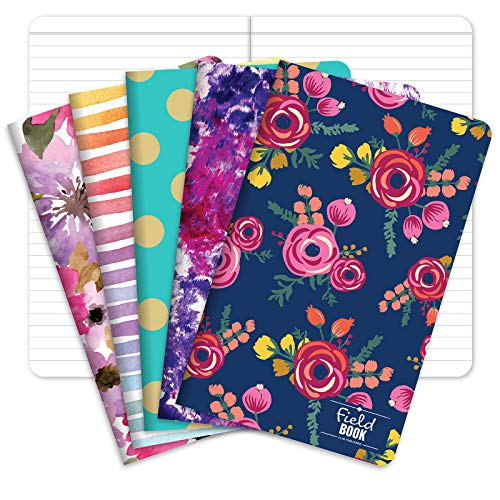"""Pocket Notebook/Journal - 5""""x8"""" - Assorted Patterns - Lined Memo Field Note Book - Pack of 5"""