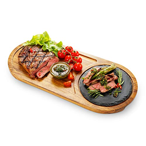 Wooden Steak Serving Plate Cutting Board with Juice Channel Serving Tray with Slate Stone for BBQ Cheese Fish Grill Meat Acacia Wood Steak Board Platter with Hand Grooves