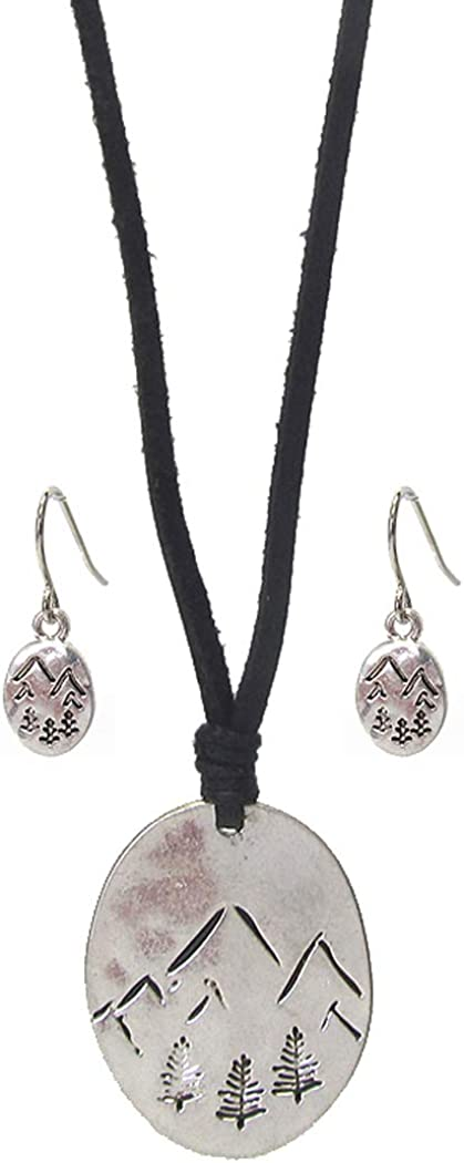 Fashion Jewelry ~ The Mountains are Calling and I Must Go Travel Theme Pendant Cord Necklace and Earrings Set for Women Teens Girlfriends Birthday Gifts…