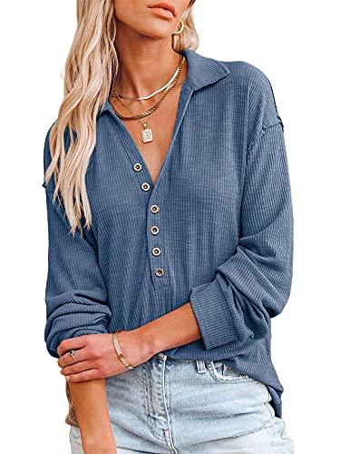 Blusa de Manga Larga para Mujer Top Casual para Mujer con Hombros Descubiertos y Botones Pullover Tops Otoño Invierno Camisas Ropa (Azul, X-L)