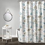 Lush Decor, Blue & Taupe Harbor Life Shower Curtain, 72' x 72'