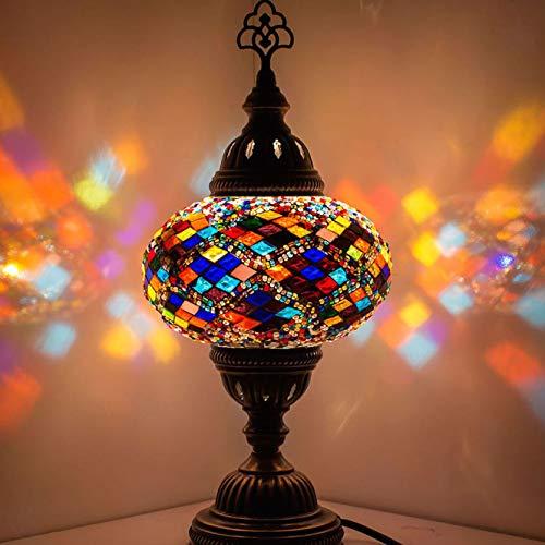 Demmex 2019 Turco Marroquí Mosaico Mesita Noche Tiffany Lámpara de noche para uso en Estados Unidos, Multicolor