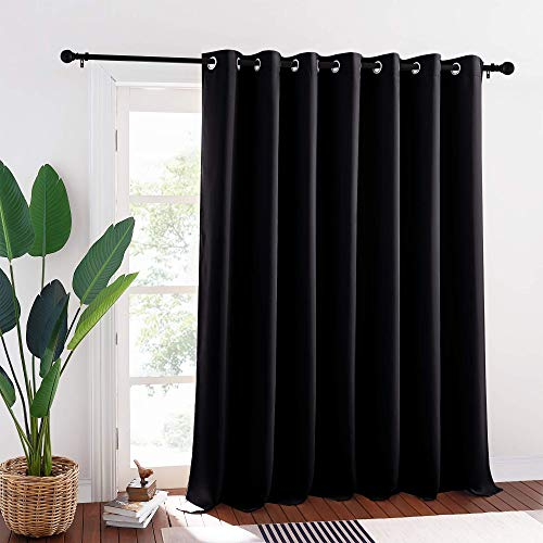 RYB HOME Blackout Curtain Panel - Sliding Hanging Room Divider, Slider Curtain Drapes Sunlight Block Insulated Window Panel for Bedroom / Patio / Wall, 100-inch Width x 95-inch Length, Black