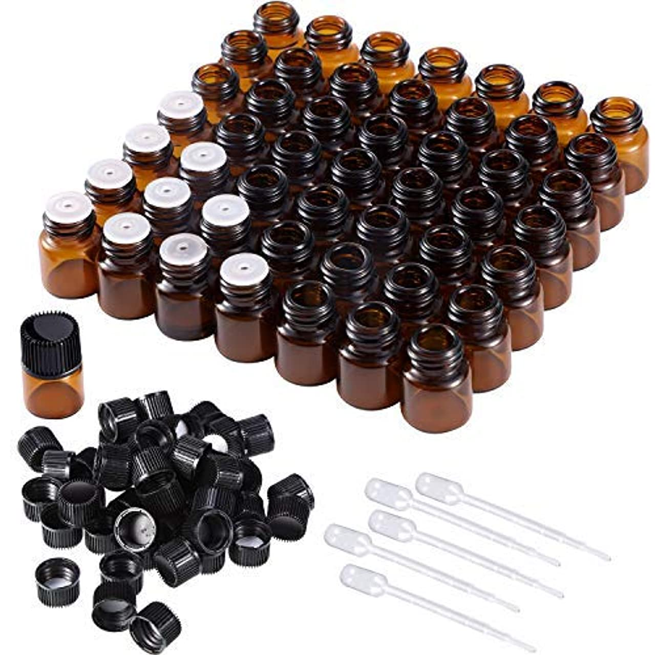 緊張虚弱付添人50 Pieces 1 ml Mini Amber Glass Vial Bottles Essential Oil Bottles with Orifice Reducers Screw Caps and 5 Pieces Droppers for Essential Oils Storage [並行輸入品]