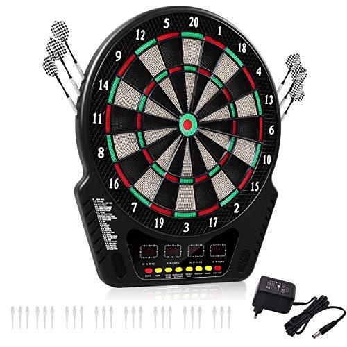 RELAX4LIFE Elektronische Dartscheibe, Dartboard mit 4 LED Bildschirmen, E-Dartscheibe Dartautomat, mit 6 Dartpfeile & 24 Ersatzspitzen & Netzadapter, 27 Spiele 243 Varianten für 16 Spieler