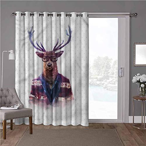 YUAZHOQI cortinas aisladas para puerta corredera, divertidas, moda ciervos en gafas de sol, 100 x 200 cm de ancho x 200 cm de largo cortinas oscurecimiento para habitación (1 panel)