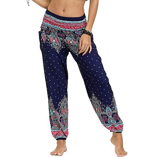 Nuofengkudu Damen Hippie Haremshose Capri Thai Hose Leichte mit Taschen Dünn Boho Ethno Blumenmuster Muster Strand Sommerhose Yogahose (Dunkelblau,One Size)