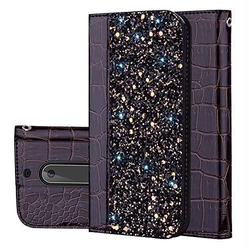 YKTO Custodia per Nokia 5 (2017) 5.2 Pollici Materiali ecocompatibili AntiGraffio Phone Caso Magnetic Staffa Flip Holster Coperchio Protettivo Scintillante Glitter Coperture Nokia5 Nero