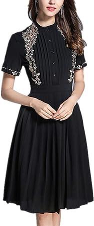 Vestido de Mujer Nueva Falda de Camisa de Manga Corta Bordada ...