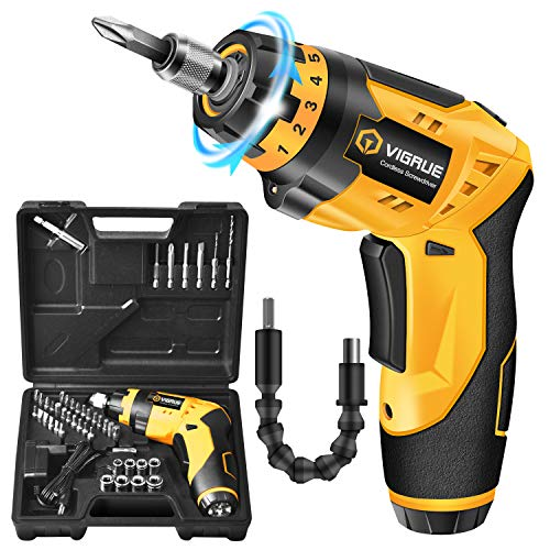 VIGRUE Cordless Screwdriver, Rechargeable Electric Screwdriver, 4V MAX 2000mAh Li-ion, with 45 Free Accessories, Battery Indicator, 7 Torque Setting, 2 Position Handle with LED Light, Flexible Shaft