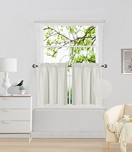 """Elegant Home 2 Panels Tiers Small Window Treatment Curtain Insulated Blackout Drape Short Panel 28"""" W X 24"""" L Each for Kitchen Bathroom or Any Small Window # R16 (Ivory)"""
