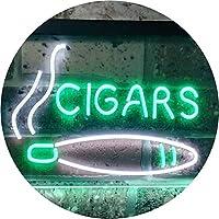 Cigars Lover Gifts Man Cave Room Dual Color LED看板 ネオンプレート サイン 標識 白色 + 緑色 400 x 300mm st6s43-i0335-wg