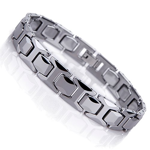 Urban Jewelry Stunning Solid Tungsten Link Bracelet for Men Polished Pyramid Style (Silver, 8.26 inch L ,11mm W)